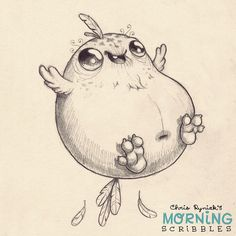 "Having lost the ability to fly, this ""bird"" resorts to bouncing for mobility. #morningscribbles"