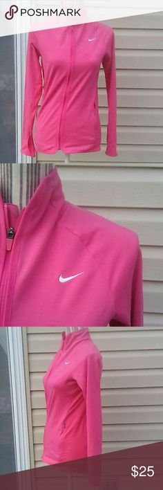 """Nike Pink Dri-Fit Jacket Sz Sm VGUC Zip up Nike Dri-Fit, pink, zip up jacket. VGUC. Size Small. Two zipper side pockets. Polyester/spandex blkend. Very soft. One small stain about 3"""" under the logo as seen in the last pic. Nice. Smoke free homr Nike Jackets & Coats"""