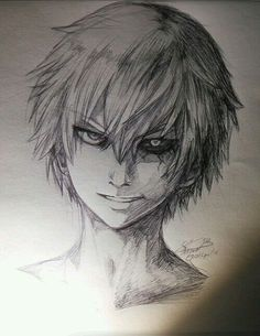 I rly like tokyo ghoul it's my type of anime finaly got round to drawing kaneki, white haired version. Anime Boy Sketch, Anime Drawings Sketches, Cool Art Drawings, Pencil Drawings, Manga Art, Anime Art, Tokyo Ghoul Drawing, Tokyo Ghoul Uta, Manga Drawing Tutorials