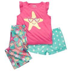 STARFISH 3-PIECE JERSEY PJS | Baby Girl Pajamas