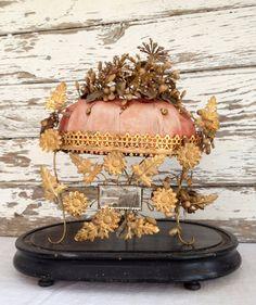 1800s antique French Globe de Mariee, 19th century French marriage wedding globe, ormolu, wax flowers, silk