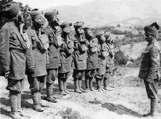 The Salonica (Macedonian) front, Indian troops at a Gas mask drill. Allied forces joined with Serbs to battle armies of the Central Powers a...