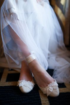 hand crafted ivory bridal flats