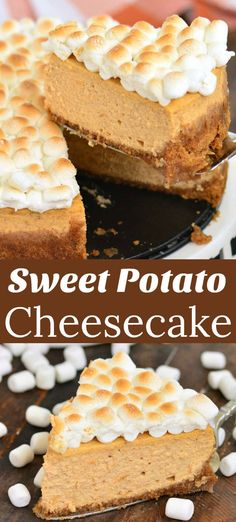 This rich, decadent, creamy cheesecake made with sweet potatoes and topped with toasted marshmallows will be a wonderful addition to the holiday table. Sweet Potato Cheesecake, Sweet Potato Dessert, Pumpkin Pie Cheesecake, Sweet Potato Recipes, Cheesecake Recipes, Dessert Recipes, Christmas Cheesecake, Cheesecake Jars, Cheesecake Brownies