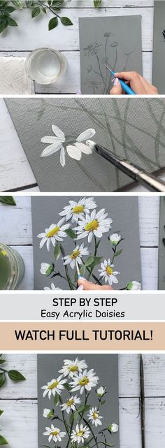 Painting Flowers Tutorial, Easy Flower Painting, Daisy Painting, Canvas Painting Tutorials, Acrylic Painting Flowers, Acrylic Painting For Beginners, Easy Canvas Painting, Simple Acrylic Paintings, Acrylic Painting Techniques