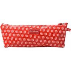 Lou Harvey long cosmetic bag vinyl-covered in circle flowers pattern, great for #summer #beachbags #waterproof