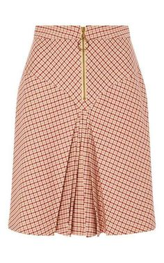 Bordeaux Pleated Checked Yoke Skirt by MANOUSH for Preorder on Moda Operandi Source by African Fashion Skirts, African Print Fashion, African Print Skirt, African Dress, Skirt Outfits, Dress Skirt, Pola Rok, Cute Skirts, Classy Dress