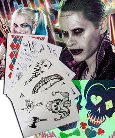 DC Detective Comics Batman Suicide Squad Task Force X Harley Quinn Joker 2016 Movie Tattoos Cosplay Accessory Prop Harley Quinn Cosplay, Joker And Harley Quinn, Joker 2016, Joker Cosplay Costume, Movie Tattoos, Easy Cosplay, Cosplay Ideas, Detective Comics, Squad