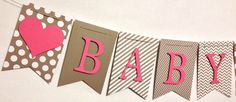 Baby Shower Banner Baby Name Banner Shower por FitchCraftCreations