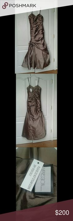 Bridal / Prom / Formal Dress Moca  pelted dress with roses on the side never used before has all of its  tags on it impression bridal  Dresses Prom