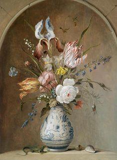 Балтазар ван дер Аст. Букет цветов в китайской вазе в нише