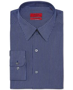 Alfani Red Fitted Performance Navy Textured Stripe Dress Shirt