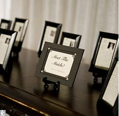 Framed bridesmaids bios!
