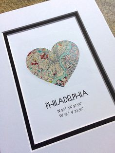 Philadelphia City Map Art, Custom Any City Map Art, Map Home Decor, Map Art Gift- Gift for Families or Friends, Gift For Couples Engagement – Scrapbooking İdeas For İdeas. First Anniversary Gifts, Paper Anniversary, Engagement Gifts, Engagement Couple, Couple Gifts, Gifts For Family, Wedding Vow Art, Heart Map, Mothers Day Crafts For Kids