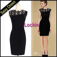 Cheap Fashion Sexy Women Black Midi Bodycon Dress V-Neck Floral Lace Hollow Out Neck Plus Size S M L XL XXL Slim Pencil OL Dress Knee-Length from Lockin,$3.55 | DHgate.com