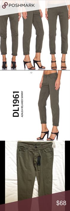 """DL1961 Azalea Relaxed  Skinny DL1961's AZALEA RELAXED SKINNY  COLOR SPRINT A relaxed fit jean with 360 degree comfort. Roll up the hem and wear with heels for a night out or relax with flats. Made with American cotton. * Wash - Sprint /Olive * 98% cotton , 2% elastane * Approx 16"""" at the knee narrows to 12"""" at the leg opening (taken from a size 27) * XTWILL 360 COMFORT * Hand wash DL1961 Jeans"""
