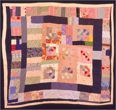 Mary Allen Smith Williams Tacked Strip Quilt with Center Medallion, ca. 1950