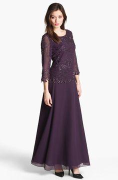 New J KARA Embellished Chiffon Gown Dress 3/4 Sleeve Plum Wine Purple 10 P  #JKara #Formal