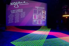 Event production agency MKG brightened up a dark room using neon masking tape and ultraviolet lighting, creating an edgy, Pop Art-inspired l... Photo: Nadia Chaudhury/BizBash