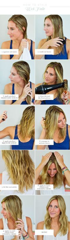 how to style wet hair, air dry hair, products for air drying hair, hair tutorial, hair products, blonde hair