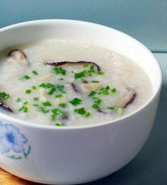 Cantonese Style Chicken and Mushroom Congee (porridge)