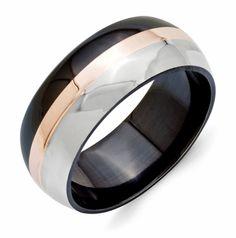 Men's Black Ti Ring with Rose Gold Inlay