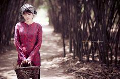 Ao ba ba with rural headscarf.