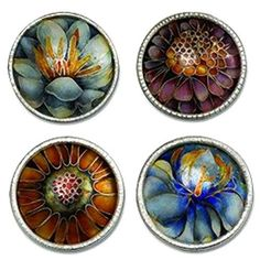 4 stunning Floral Enamel Buttons