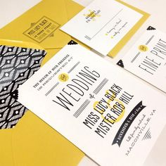Simple decorative elements on invite.  Solid color paper with envelope liner + return address printed or stamped onto the envelope flap work well with the white paper and yellow/black color scheme
