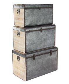 Promotions Choice Dorrian Rustic Iron and Wood Hammered 3 Piece Trunk Set (Set of 17 Stories Wicker Storage Trunk, Wicker Trunk, Decorative Trunks, Decorative Boxes, Birch Lane, Wooden Trunks, Rustic Irons, Galvanized Metal, Wood And Metal