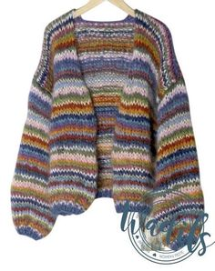 Pattern for Tilda multi coloured knitting cardigan Oversized Knit Cardigan, Mohair Sweater, Crochet Cardigan, Knit Crochet, Multi Coloured Cardigans, How To Purl Knit, Cardigans For Women, Knitwear, Knitting Patterns
