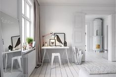 Scandinavian style desk at home- 25 chic and practical ideas at once Workspace Design, Home Office Design, Home Office Decor, Best Interior, Room Interior, Interior And Exterior, Scandinavian Home Interiors, Scandinavian Style, 3d Studio