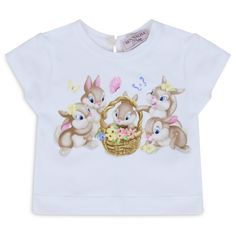 Monnalisa Baby Girls White T-Shirt with Multicoloured Bunny Print