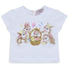 Monnalisa Baby Girls White T-Shirt with Multicoloured Bunny Print