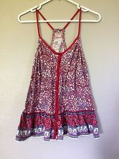 American Eagle Multi-Color Red Sleeveless Floral Tank Camisole Top Medium M