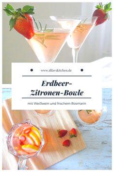Rezept für Bowle mit Erdbeeren, Zitrone, Weißwein und frischem Rosmarin #rezept #recipe #bowle #drinks #erdbeeren #strawberry #weisswein #rosmarin #zitrone #lemon #cocktail