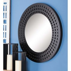 fd1ba77aa6 Modern Gray Round Cut-Out Framed Wall Mirror-84365 - The. The Home Depot