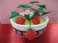 3D Origami - Strawberry Bowl