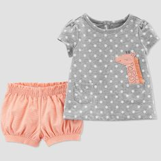 fc046635e Baby Girls' 2pc Dots Giraffe Top And Bottom Set - Just One You made by  carter's Gray/Peach Newborn