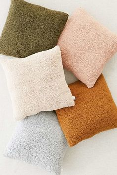 Sherpa Fleece Throw Pillow | Urban Outfitters. Love the Siena and cream colors