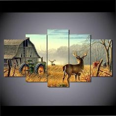 Modern Canvas Printed Painting Poster 5 Pieces Whitetail Deer Farm Home Decor For Living Room Wall Art Pictures Artwork Cuadros Wall Art Pictures, Canvas Pictures, Pictures To Paint, Poster Pictures, Painting Prints, Wall Art Prints, Canvas Prints, Canvas 5, Canvas Ideas