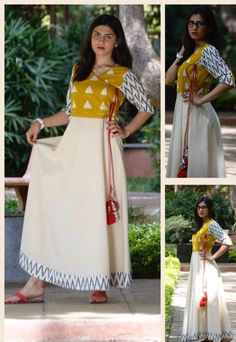 I like the patter of this Cotton long kurta with yoke and sleeves.but I would prefer pattern miximg as opposed to plain fabric Salwar Pattern, Kurta Patterns, Dress Patterns, Ethnic Outfits, Indian Outfits, India Fashion, Ethnic Fashion, Western Dresses, Indian Dresses