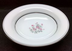 """Noritake STANTON 5407 Lot of 3 Fruit Berry Dessert Bowls Pink Roses Platinum & Gray Bands Dinnerware MINT Condition 5 5/8"""" in diameter by libertyhallgirl on Etsy $19.99 for 3 bowls"""