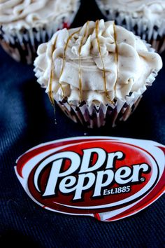 Dr. Pepper Cupcakes - I pinned these so I would remember to make them for a wonderful elderly lady who LOVES Dr. Pepper.