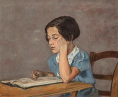 Little Girl Reading - Jean-Eugène Bersier French, Oil on canvas, 54 x 64 cm , x in. Girl Reading Book, Reading Art, Woman Reading, Reading Room, Social Activities, Art History, Jeans, Books To Read, Illustration Art