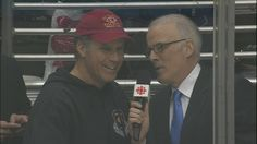 Actor Will Ferrell joined HNIC's Scott Oake just before the start of the 3rd period of the Canucks-Kings game in Los Angeles on Sunday. (CBC)