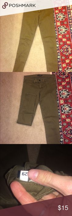 Olive green flying monkey! Olive green flying money! Perfect condition, reposh because too low rise. Skinny jean, size 29. No damages, discounts with bundles Buckle Jeans Skinny