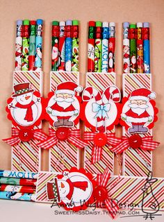 I made more pencil wraps using images from Christmas Cuties! I used the Pencil Treat Box template that I created for my Halloween pencil treats. These are fun to make, and if you haven't made any yet, what are you waiting for!? *grin* The images color up really quickly, and dress up nicely with a bit of glitter. I set them on a scalloped circle base, just for a little extra cuteness. The striped paper is from the Jillibean Soup holiday 6x6 paper pad. I like the addition of non-traditional…
