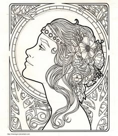 I really wanted to try doing something art nouveau-ish. I've been working on this for a while. I'm coloring it now, but I want to take my time. Here is an update with some color: