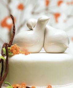 "Lovebird Cake Topper. Super Sweet. Seems like it would fit into any ""style"" of wedding!"